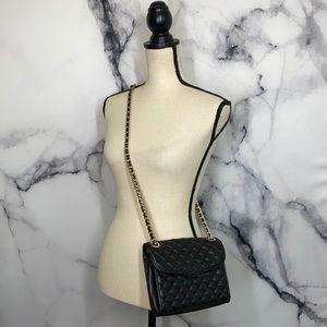 Rebecca Minkoff black leather mini quilted affair